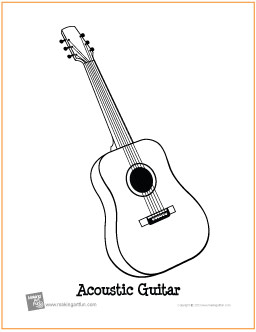 acoustic guitar free printable coloring page