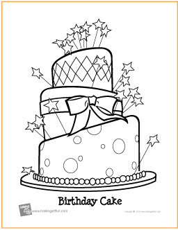 birthday cake free printable coloring page