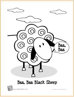 Baa Baa Black Sheep Free Printable Coloring Page Baa Baa Black Sheep Coloring Page