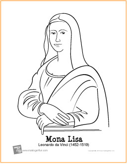 Mona Lisa da Vinci Free Printable Coloring Page