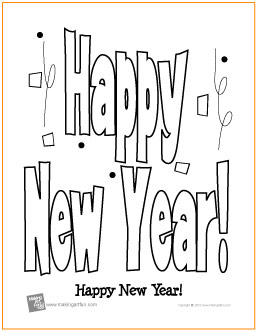 Happy New Year Free Printable Coloring Page