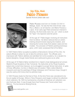 a biography of pablo ruiz picasso a famous spanish painter Pablo ruiz picasso 1881 malaga (espagne) 1973 mougins (france) a spanish painter, sculptor, designer and ceramicist who had an exceptionally long creative life, pablo picasso (1881-1973) arrived in paris in 1901 and embarked on his famous blue period (1901-1904.